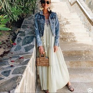 Free People Penelope Slip Maxi Dress In Matcha